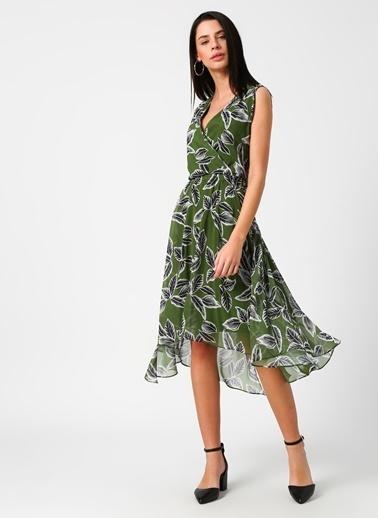 House Of Camellia Kolsuz Desenli Şifon Elbise Yeşil